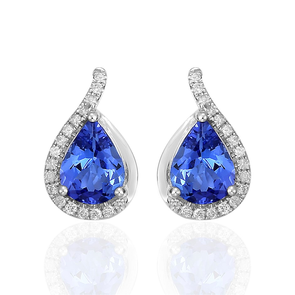 9ct White Gold, 2.12ct Tanzanite and Diamond Earring