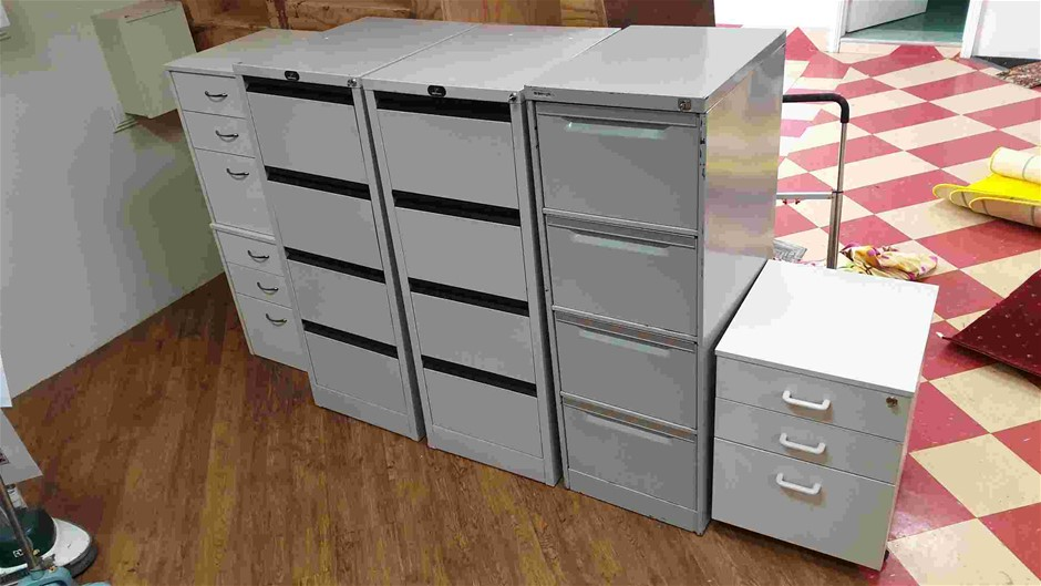 Assorted File Cabinets and Wooden Drawers