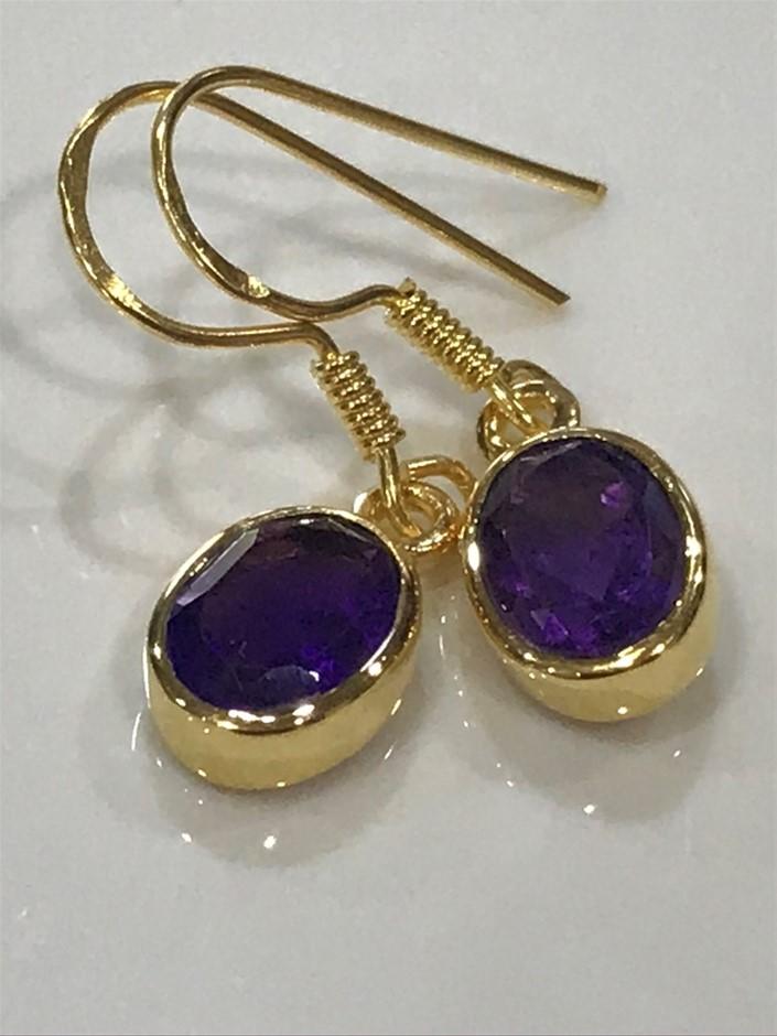 Stunning Genuine 2.50ct Amethyst & 18K Y/ Gold Vermeil Earrings