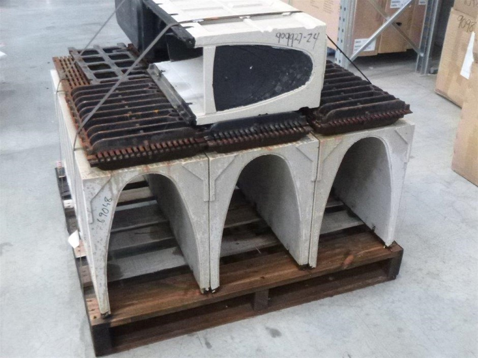 Pallet of Avo Concrete Drain Channels with Steel Grate Lids
