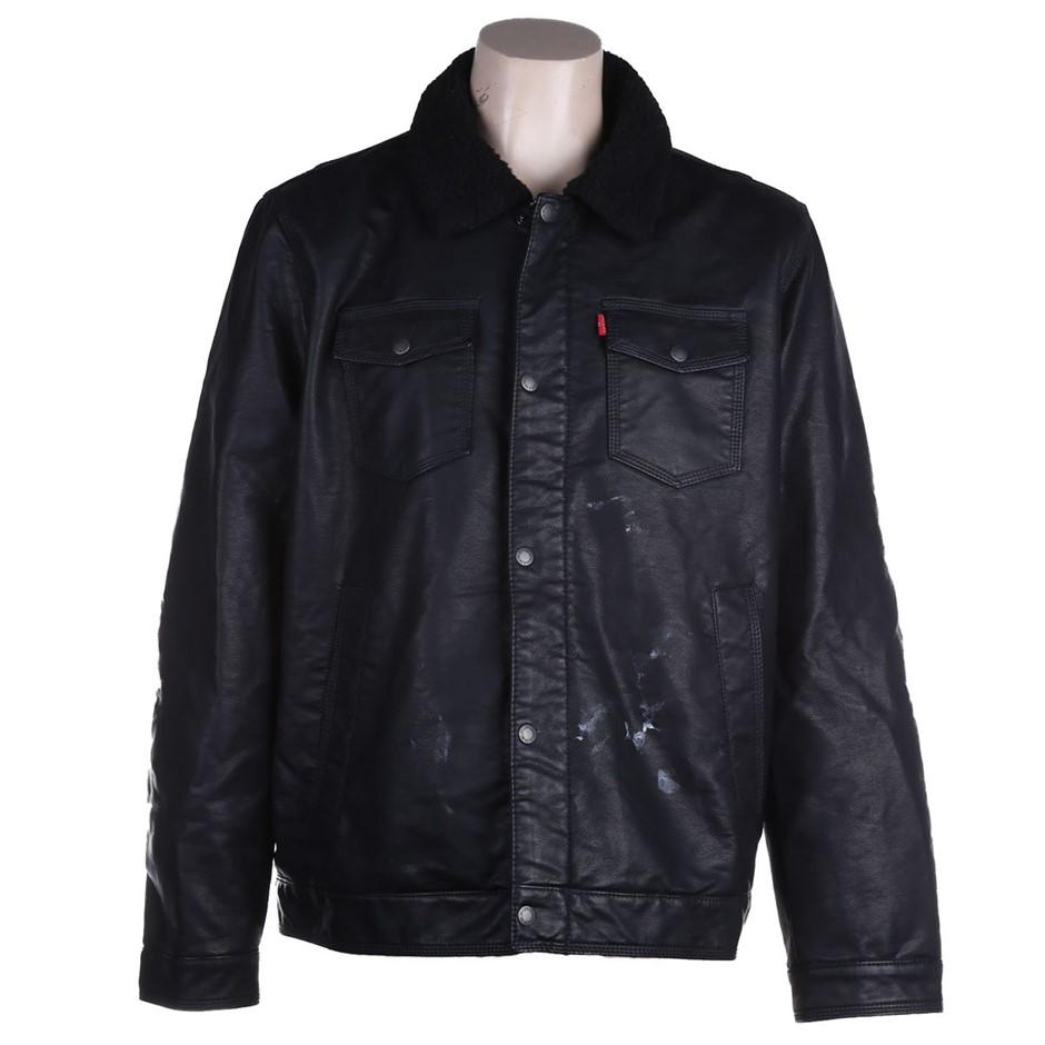 LEVI`S Men`s Faux Fur-Lined Faux Leather Jacket, Size XL, Polyurethane/Cott
