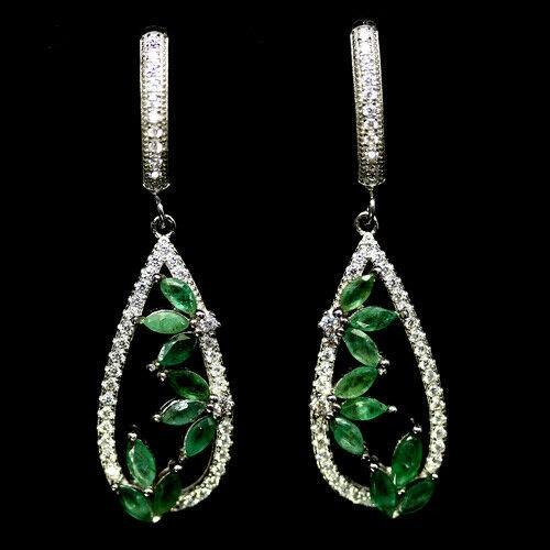 Striking Genuine Emerald Drop Earrings.