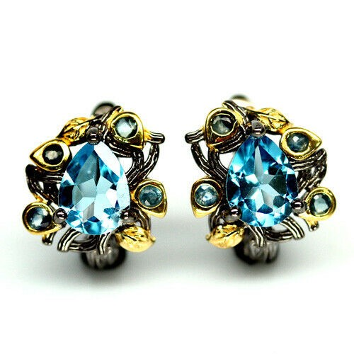 Beautiful Genuine Sapphire & Topaz Earrings.