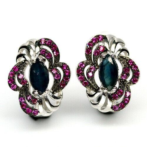 Genuine Blue Sapphire Huggie Earrings