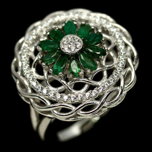 Striking Genuine Emerald Ring.