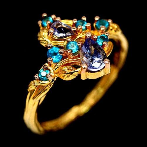 Unique Genuine Tanzanite & Apatite Ring.