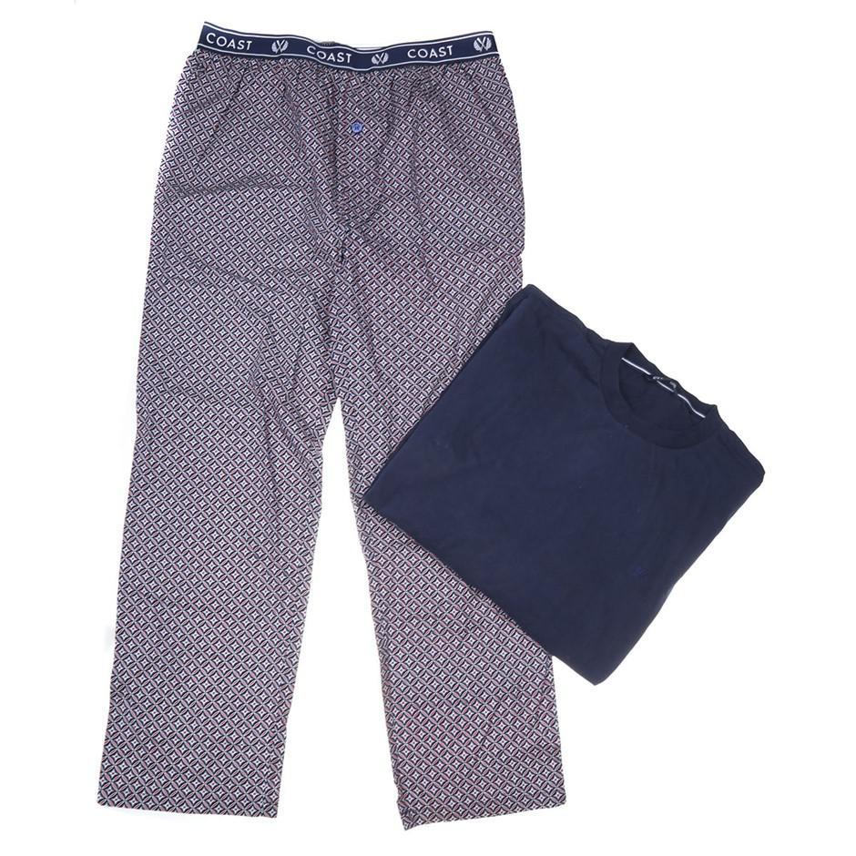 COAST CLOTHING CO Men`s Top & Pant Sleep Set, Size XXL, 100% Cotton, Navy/P