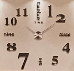 Small size stick on wall clock - black,