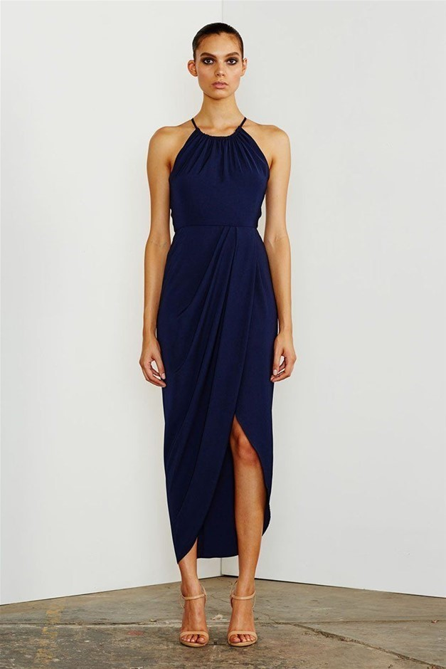 SHONA JOY Core High Neck Runched Dress. Size 6, Colour: Navy. ORP: $280.00