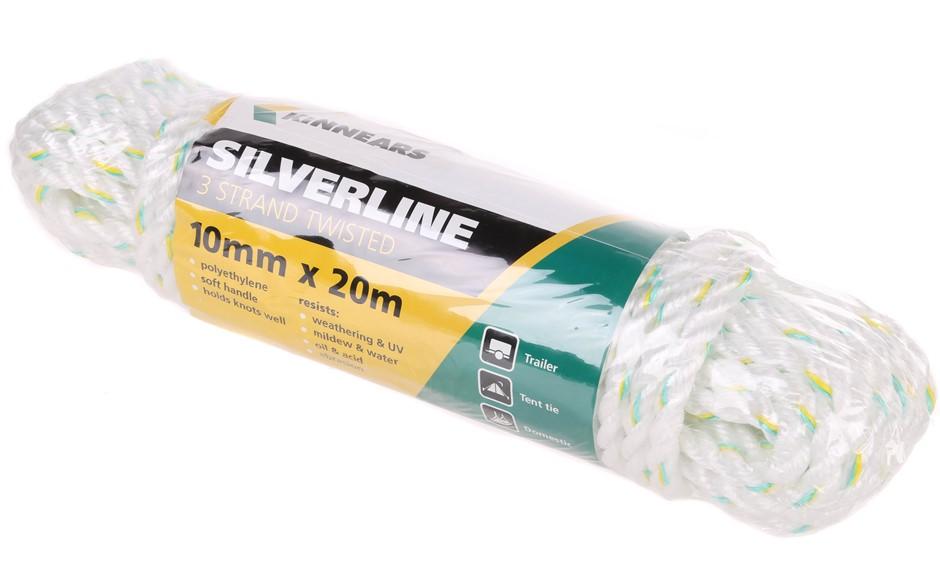 24 x KINNEARS 10mm x20M Silver Polyethylene Rope Hanks, 3-Strand with Green