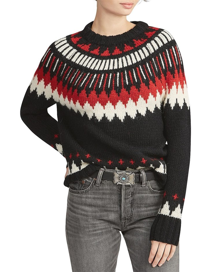 POLO RALPH LAUREN Geometric Wool-Blend Sweater. Size L, Colour: Red/Black M