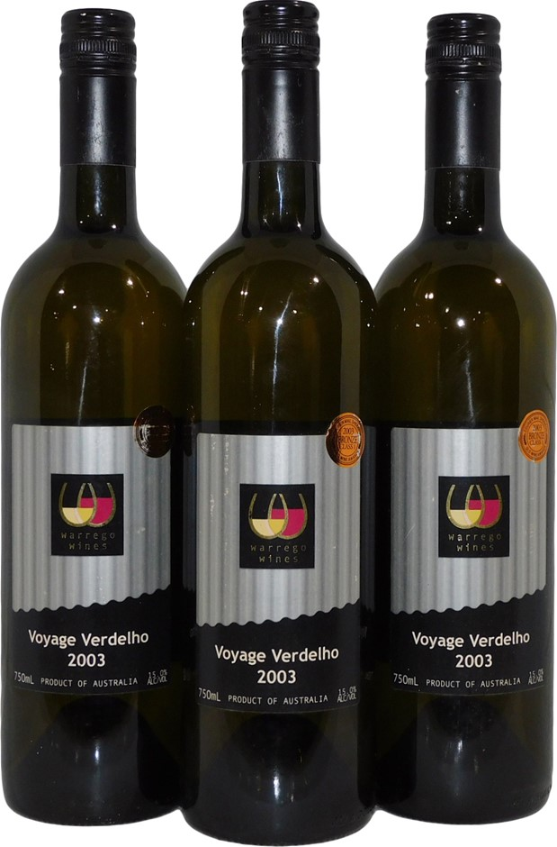 Warrego Wines Voyage Verdelho 2003 (3x 750mL), QLD. Screwcap