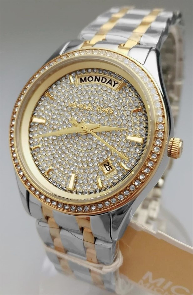 Ladies new Gold Plated Michael Kors Couture NY diamante watch.