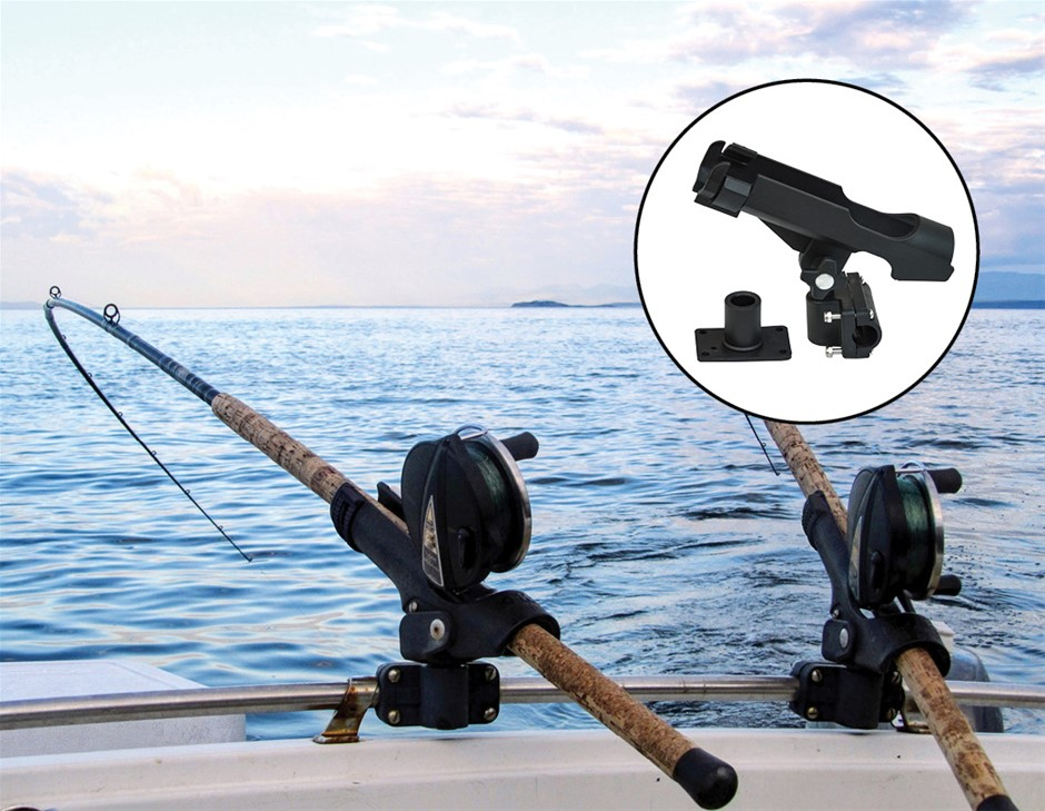4PC Kayak Boat Fishing Pole Rod Holder Tackle Kit Adjustable Side Rail