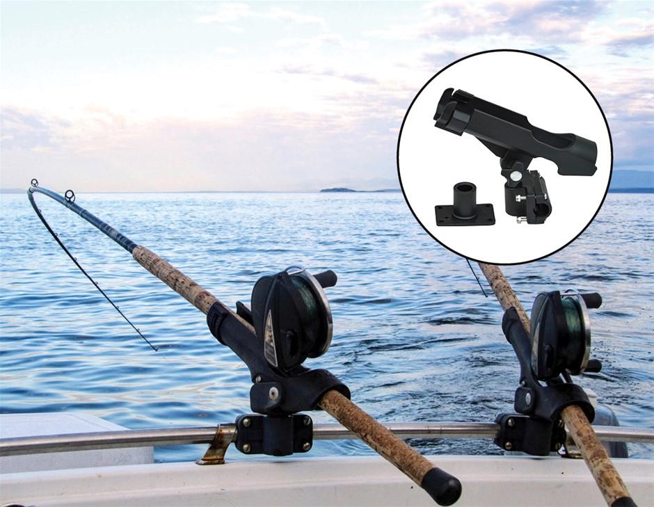 4PC Kayak Boat Fishing Pole Rod Holder Tackle Kit Adjustable Side Rail