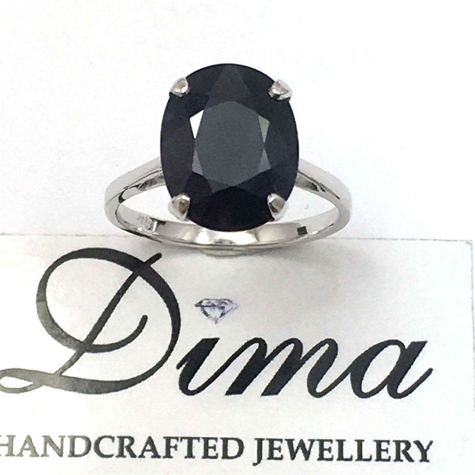 18ct White Gold, 6.72ct Blue Sapphire Ring