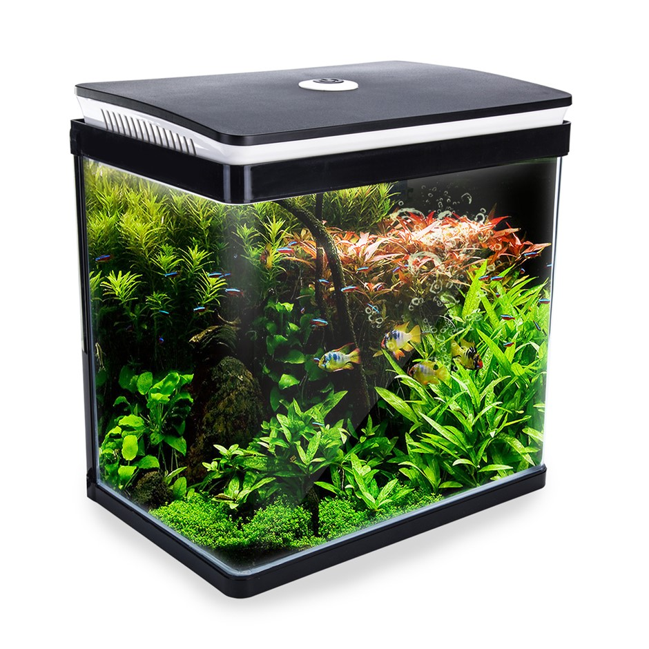 30L Curved Glass RGB LED Aquarium Fish Tank