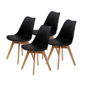 4X Padded Seat Dining Chair - BLACK
