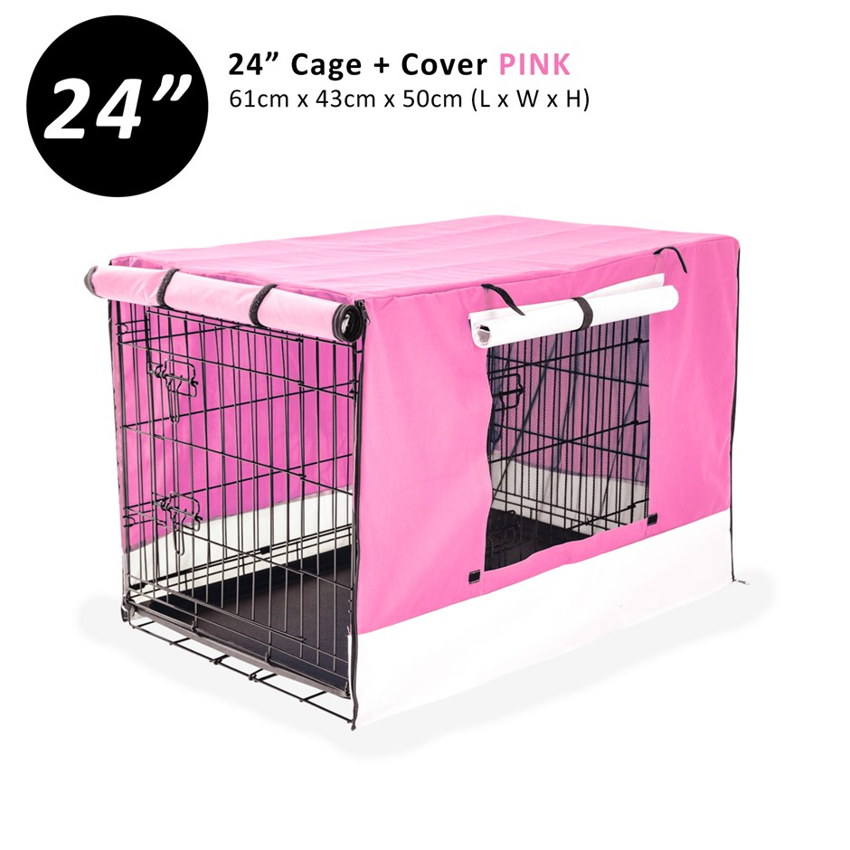 "24"" Foldable Wire Dog Cage with Tray + PINK Cover"
