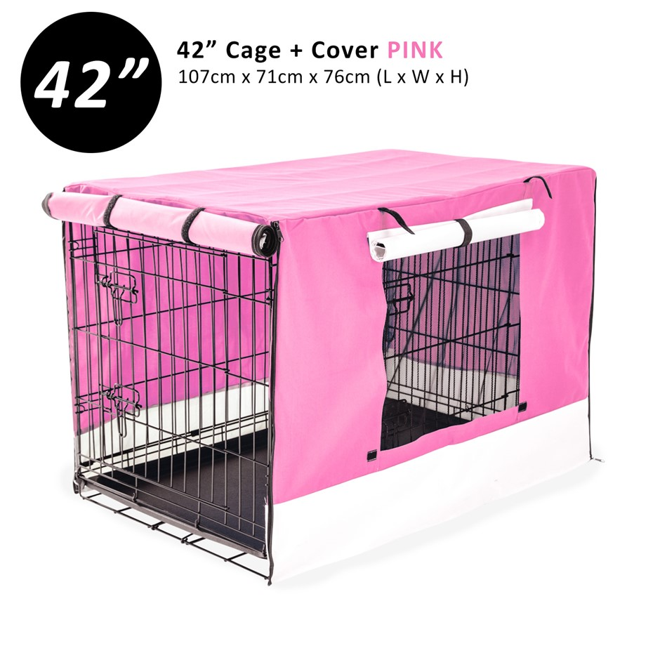 """42"""" Foldable Wire Dog Cage with Tray + PINK Cover"""
