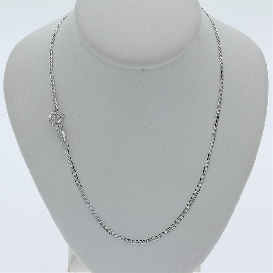 Genuine Italian 9 Karat white Gold 45 cm chain necklace