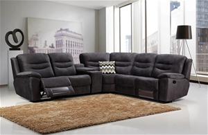 5 Seater Corner Couch Velvet Grey Fabric