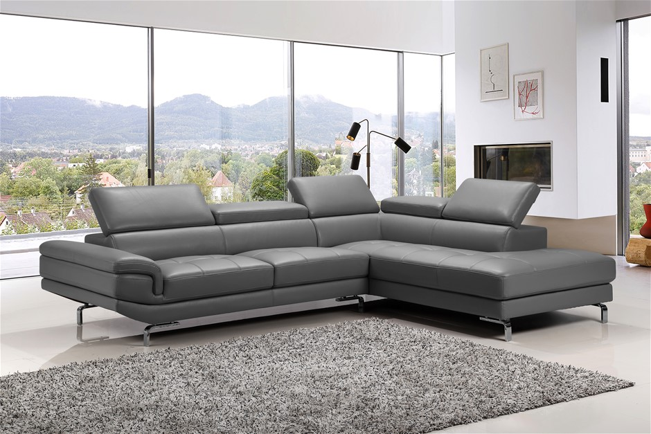 This stylish grey sofa is fully upholstered with high quality Faux leather
