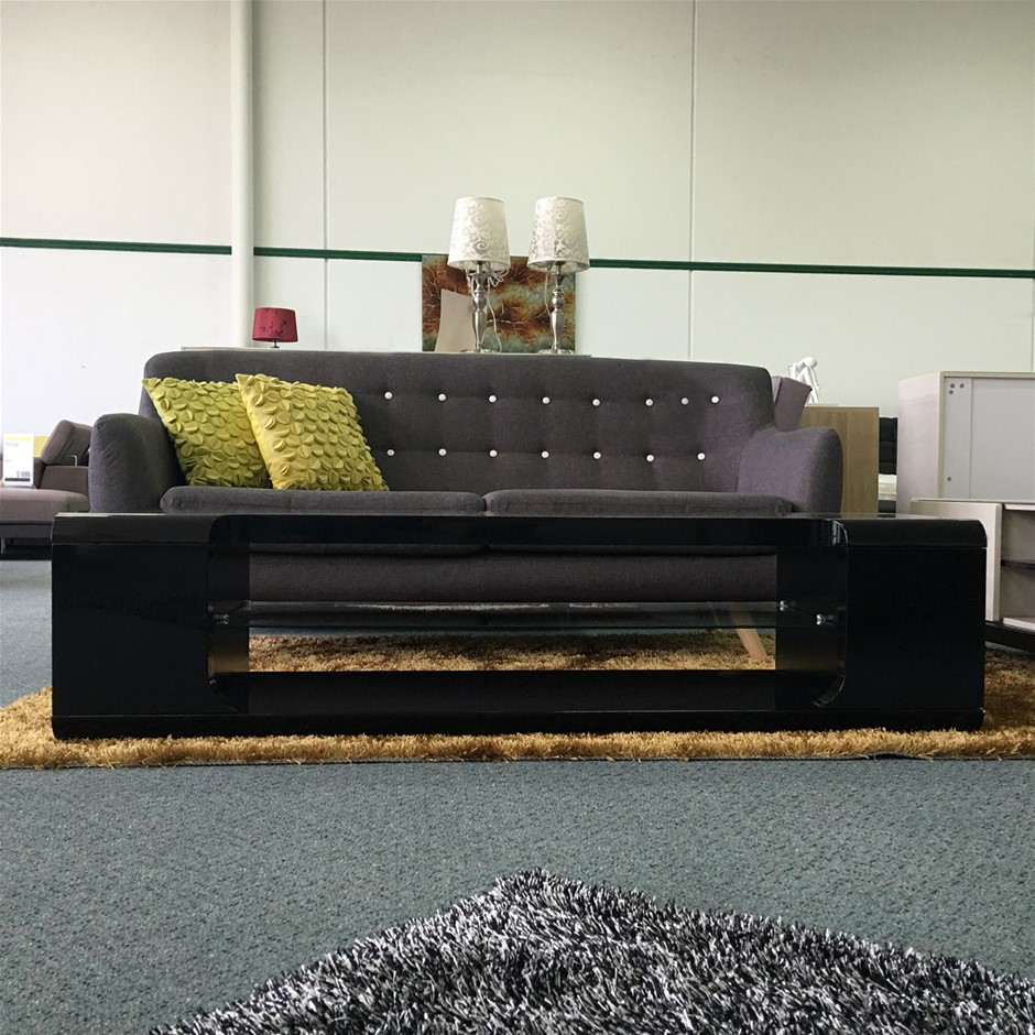 The contemporary design in Black/White High Gloss Paint on MDF