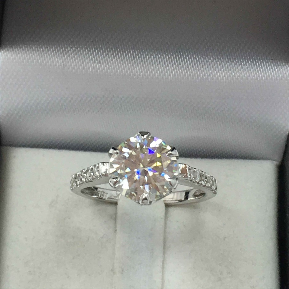 18ct White Gold, 2.16ct Moissanite and Diamond Engagement Ring