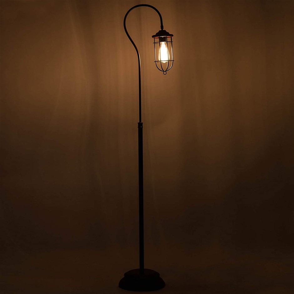 Industrial Floor Lamp with Adjustable Cage Shade Rustic Brushed