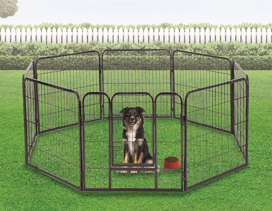 8 Panel Heavy Duty Pet Dog Playpen Puppy Exercise Fence Enclosure Cage