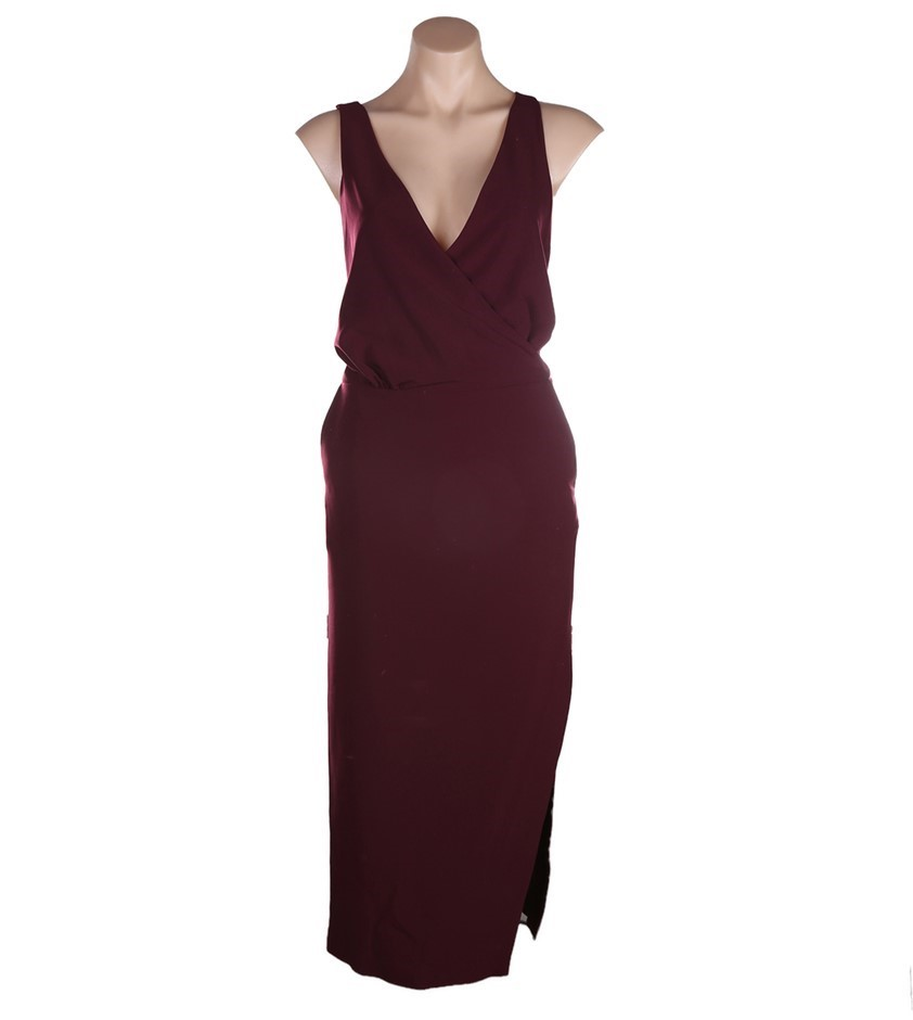 VIKTORIA & WOODS Providence Cross Back Dress. Size 1, Colour: Burgundy. ORP