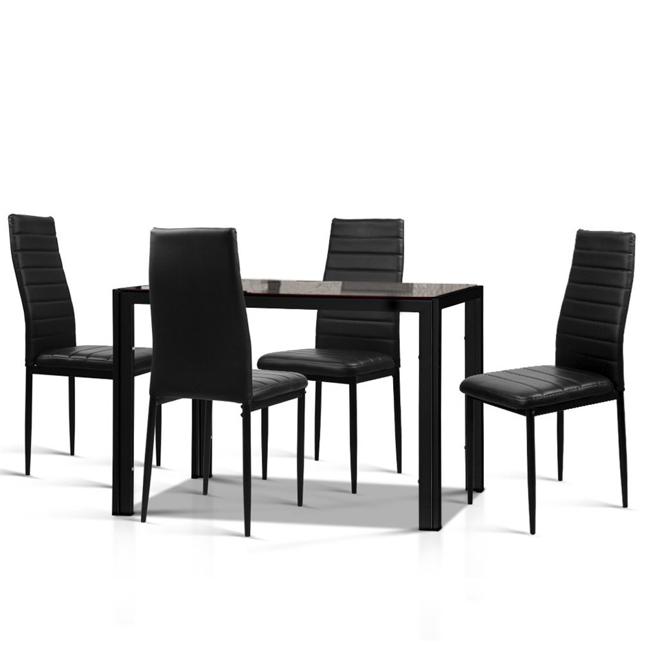 Artiss Astra 5-Piece Dining Table and 4 Chair Sets Glass Black