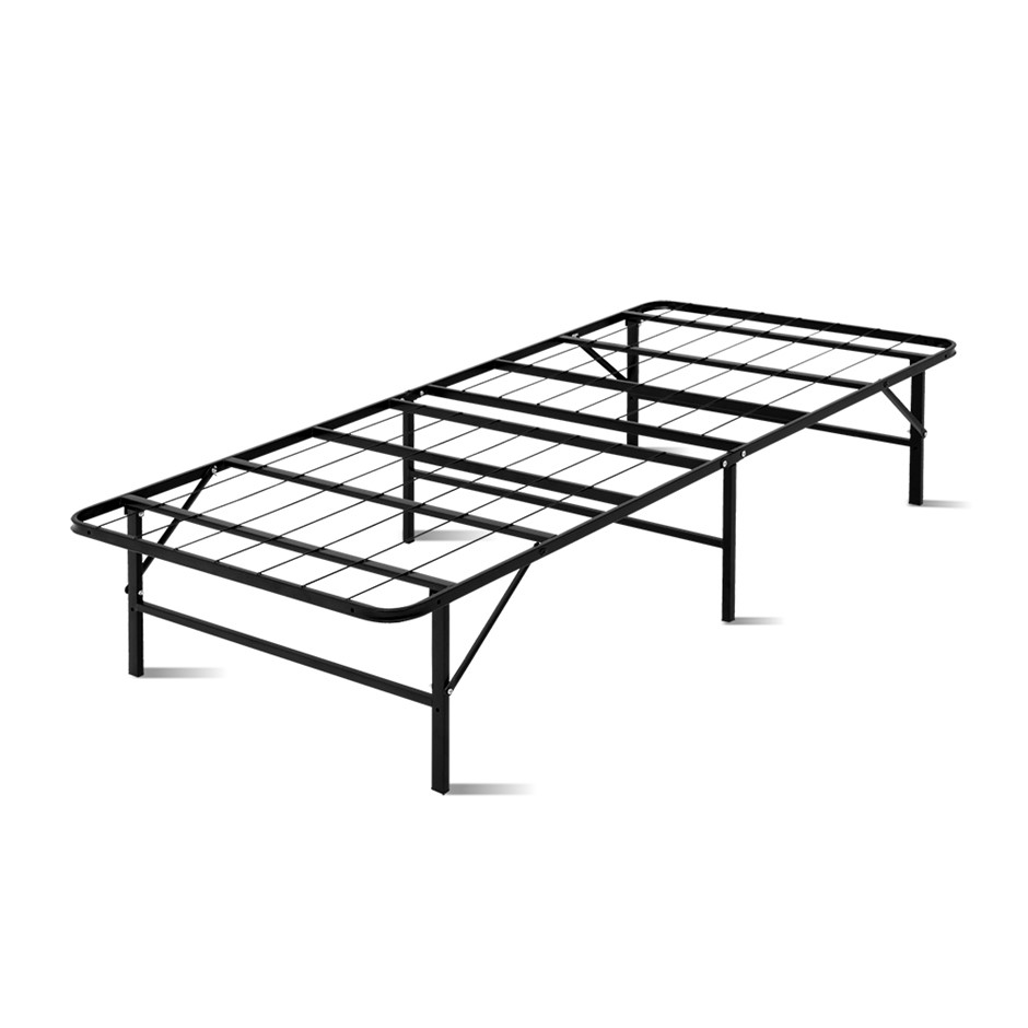 Artiss Foldable Single Metal Bed Frame - Black
