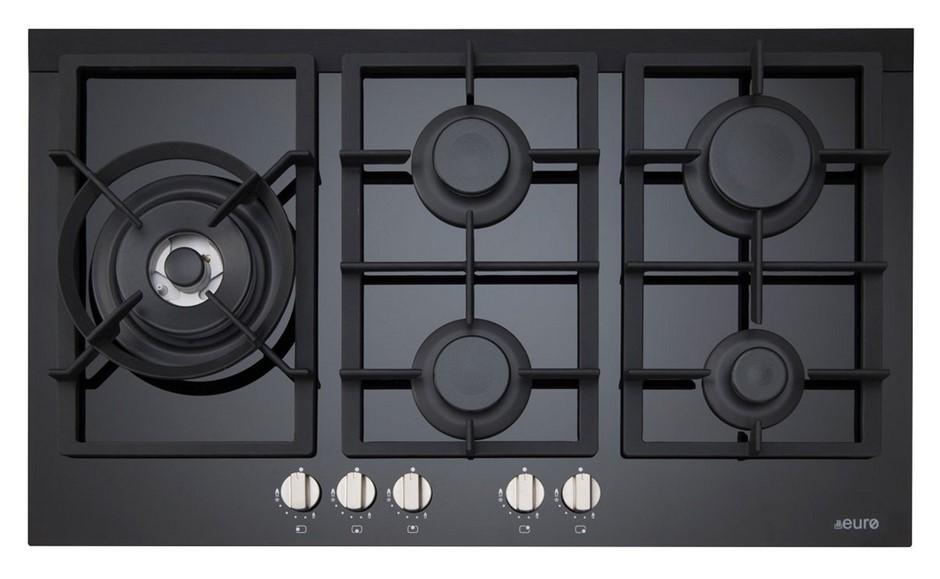 Euro 90cm Gas on Ceramic Cooktop, Model: ES90WGFDBL