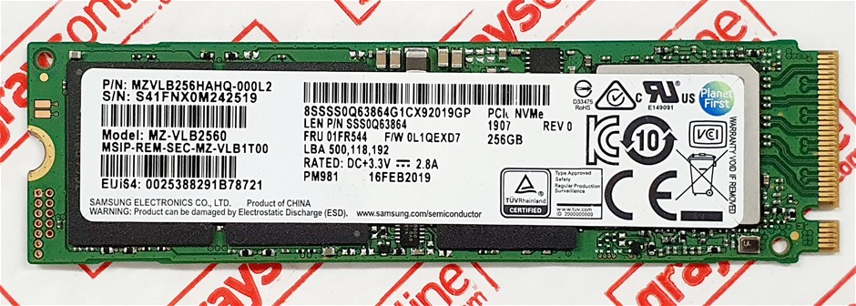 SAMSUNG PM981 256GB M.2 NVMe 2280 PCIe Gen 3x4 Solid State Drive