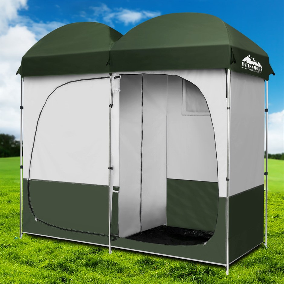 Weisshorn Double Camping Shower Toilet Tent Outdoor Portable Change Room