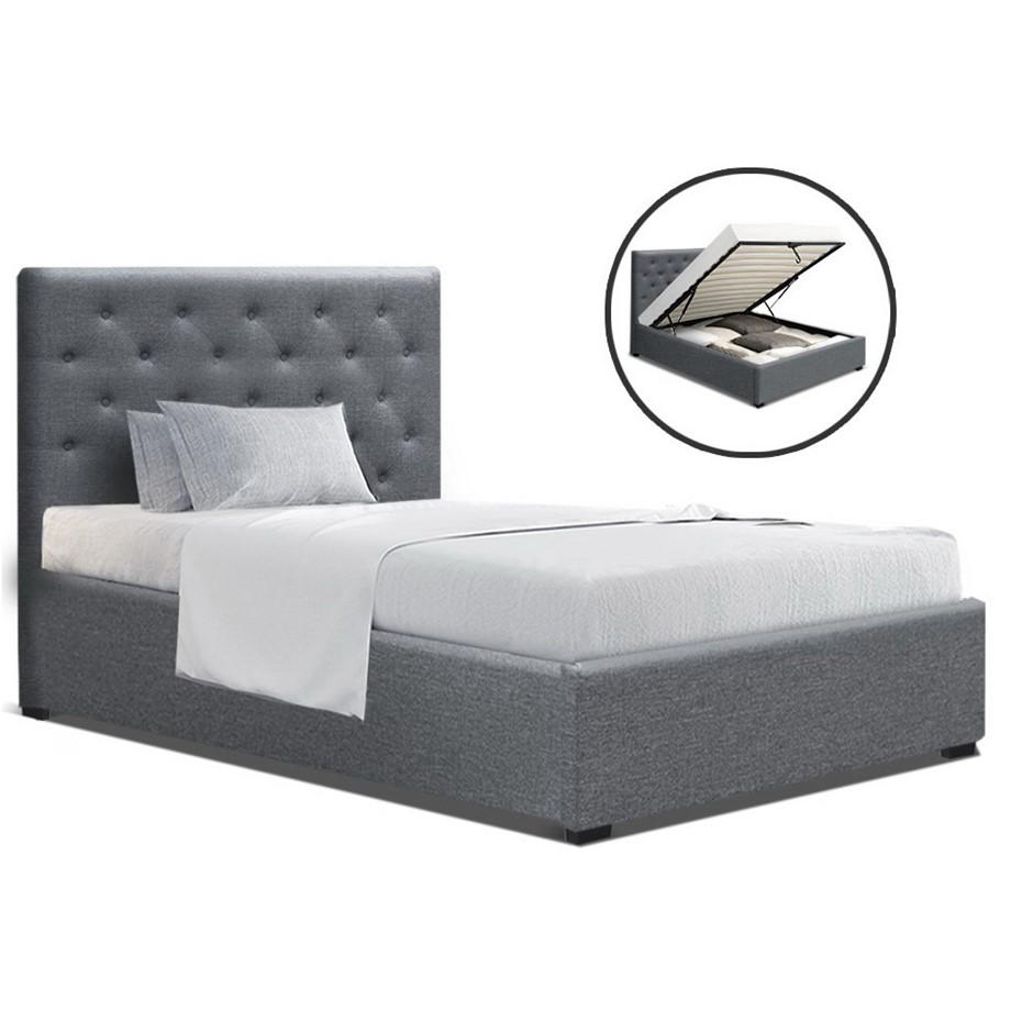 Artiss VILA King Single Size Gas Lift Bed Frame Base Storage Mattress Grey