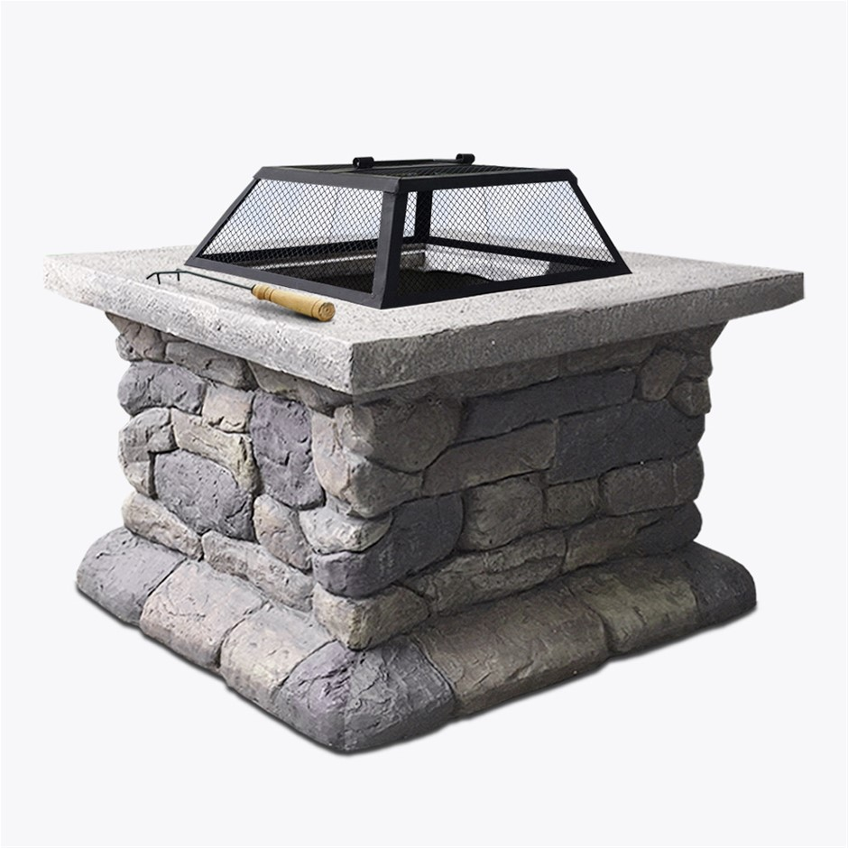 Grillz Fire Pit Table Outdoor BBQ Grill Charcoal Camping Garden Fireplace