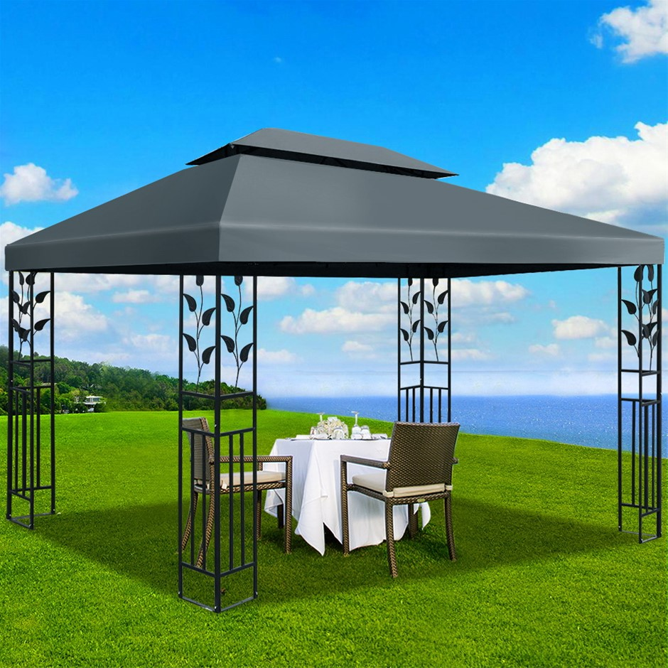 Instahut Gazebo 4x3m Party Marquee Outdoor Event Tent Iron Art Canopy Grey