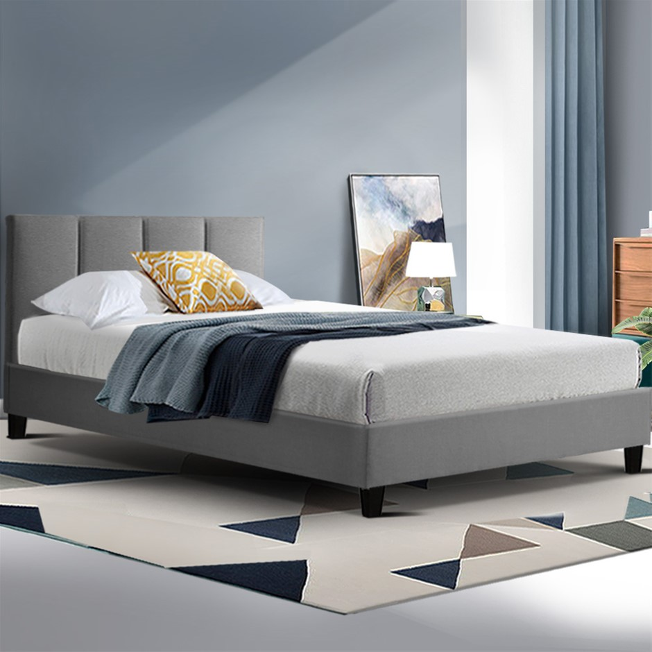 ANNA Bed Frame Single Size Mattress Base Platform Fabric Wooden Grey