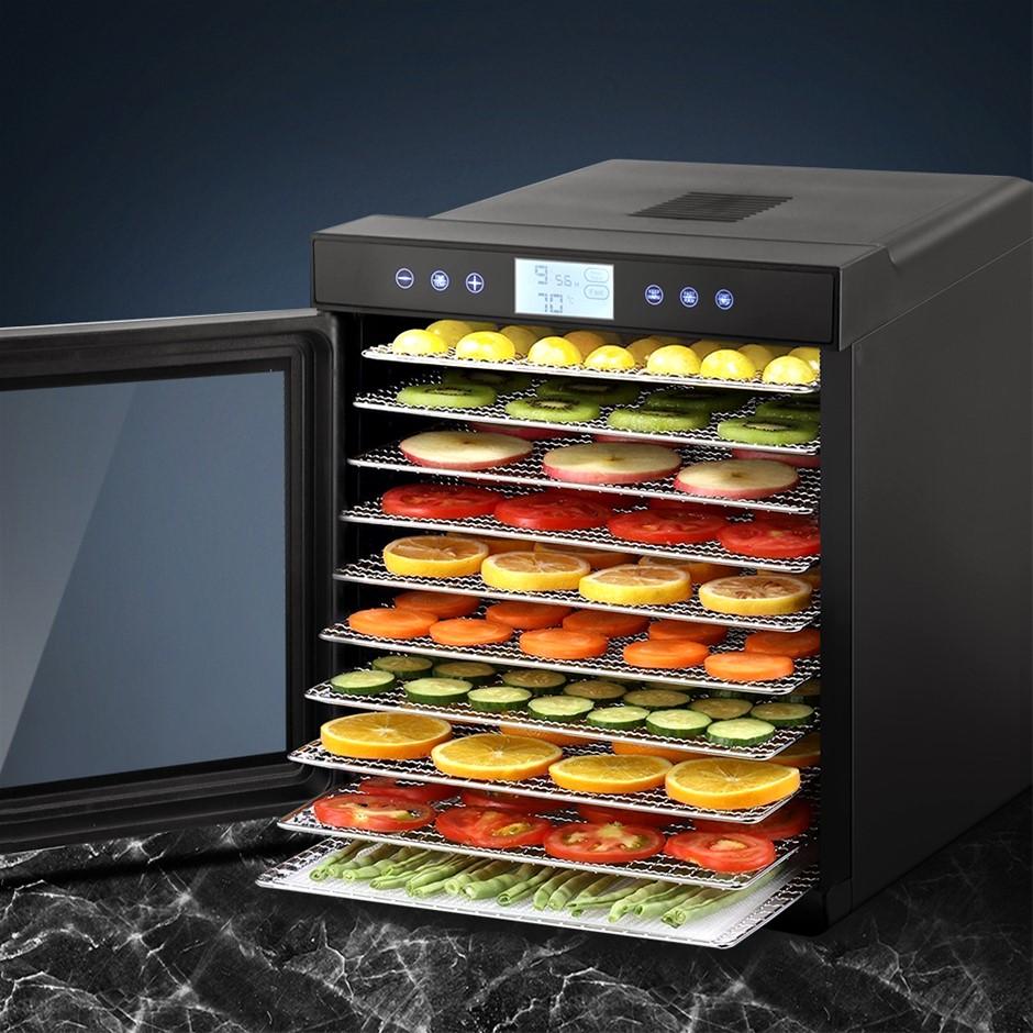 Devanti Food Dehydrators Stainless Steel Jerky Fruit Dryer 10 Trays