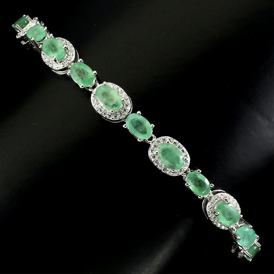 Gorgeous Sterling Silver Adjustable Emerald Bracelet