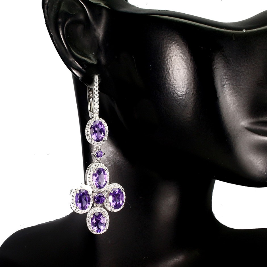 Stunning Genuine Amethyst Drop Earrings