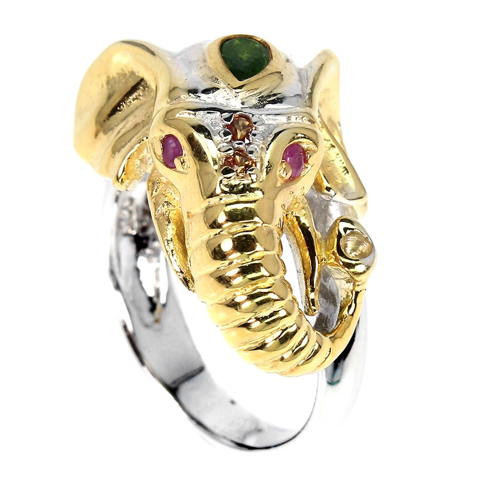 Unique Genuine Ruby & Sapphire Elephant Ring.