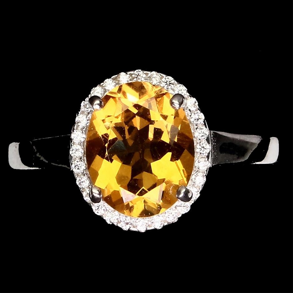 Striking Genuine Golden Citrine Ring