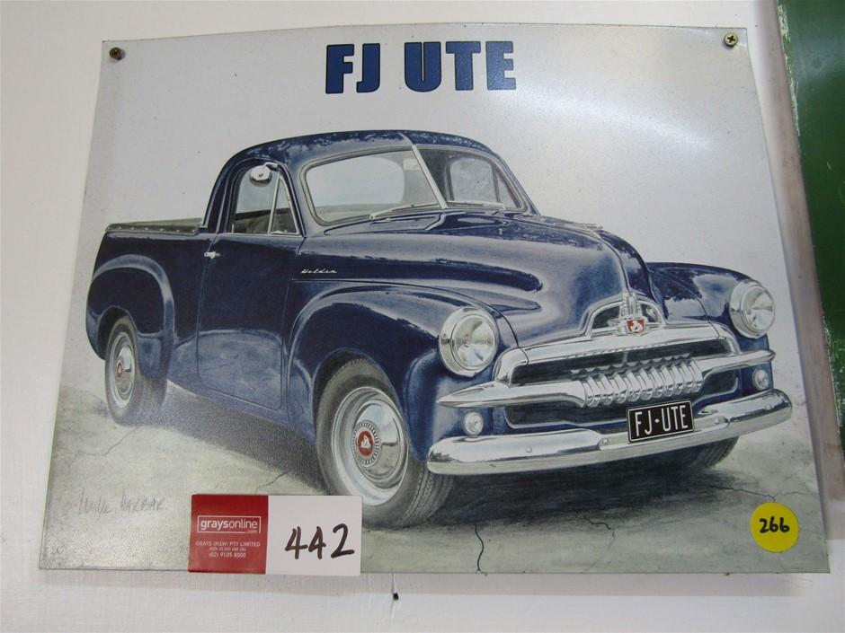 Metal Plate sign/print FJ holden ute