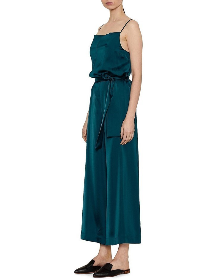 VIKTORIA & WOODS Perseverance Jumpsuit. Size 0, Colour: Emerald. Cupro, Tri