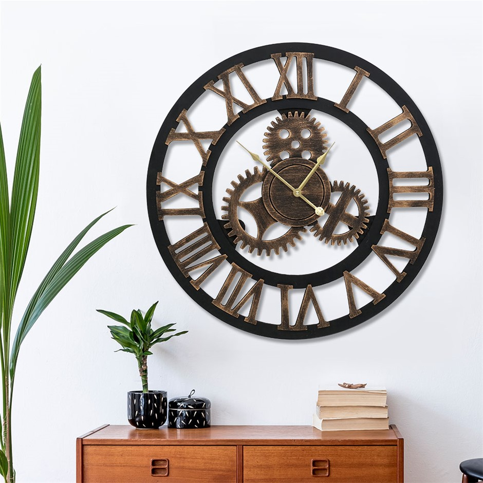 Wall Clock Extra Large Vintage Silent No Ticking Movements 3D - 60cm
