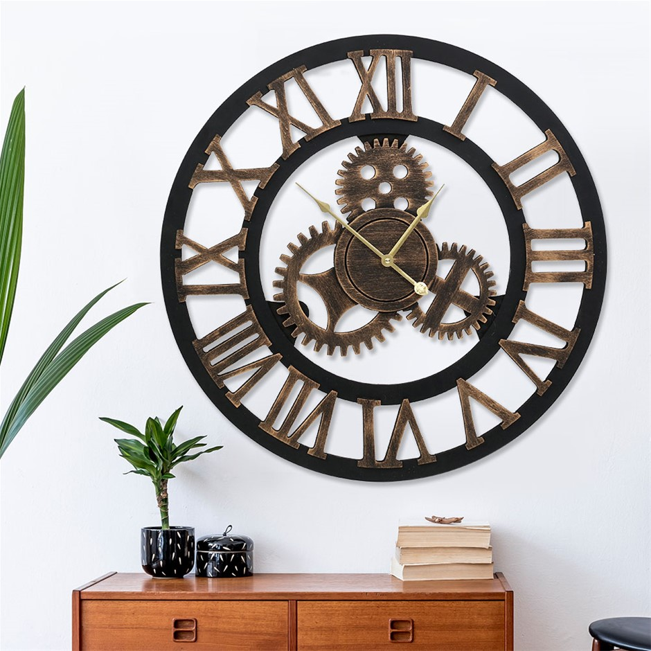 Wall Clock Extra Large Vintage Silent No Ticking Movements 3D - 80cm